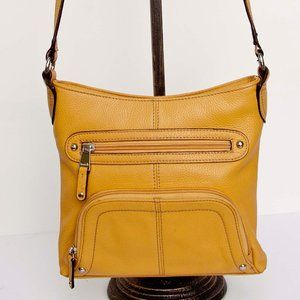Tignanello Pebbled Yellow Leather Cross Body Bag